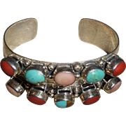 Vintage Sterling Silver Cuff Bracelet w/ Multicolored Gemstones