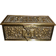 Antique Heavy Ornate Cherubs Brass Box Satin Lined