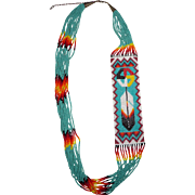 Vintage Native American Hand Beaded Necklace