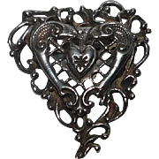 Vintage Signed Hobe Sterling Heart Brooch Pin