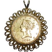Antique 1894 US Gold Coin Pendant