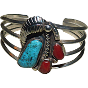Vintage Native American Sterling Silver Turquoise and Coral Cuff Bracelet