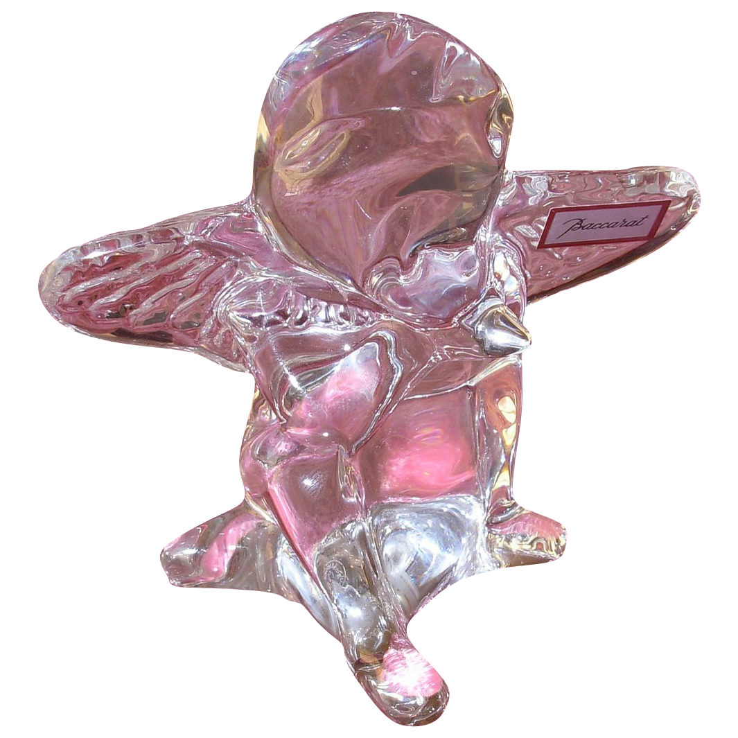 Signed Baccarat Crystal French Angel Figurine