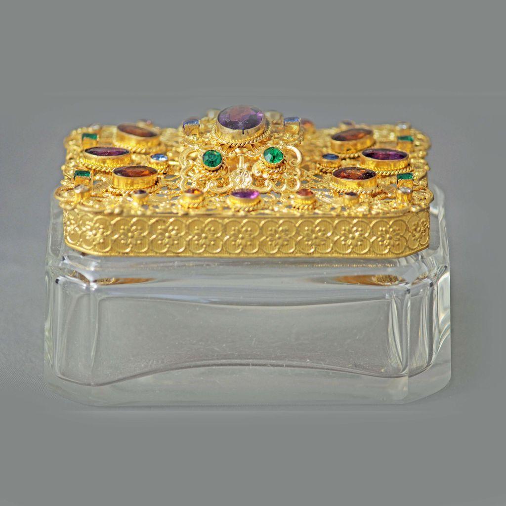 Czech Jeweled Trinket Box