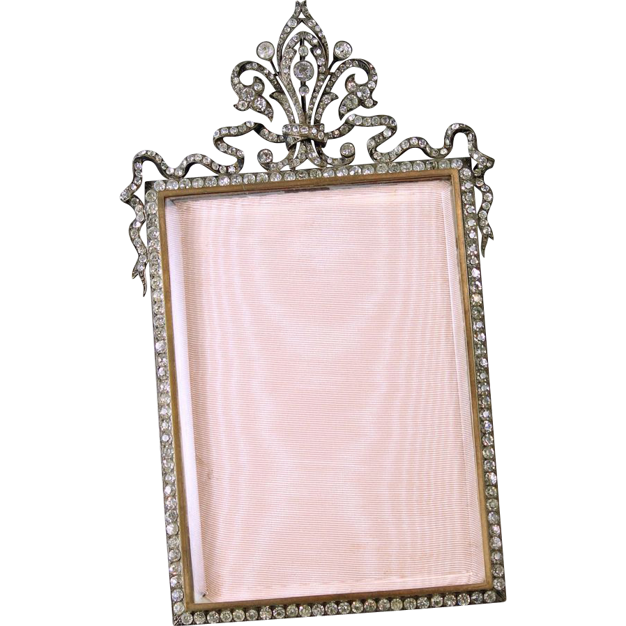 French Soft Paste Jeweled Bronze Locket Picture Frame