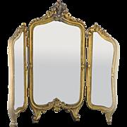 French Dore' Bronze Triptych Mirror