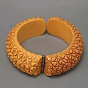 Vintage Butterscotch Heavily Carved  Floral Bakelite Clamp Bracelet