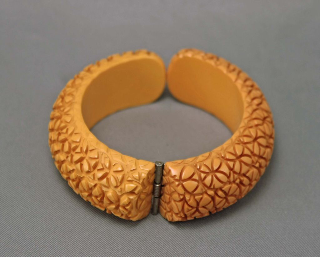 Vintage Butterscotch Heavily Carved  Floral Bakelite Clamp Bracelet