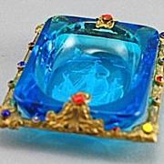 Czech Art Deco Jeweled Salt Cellar