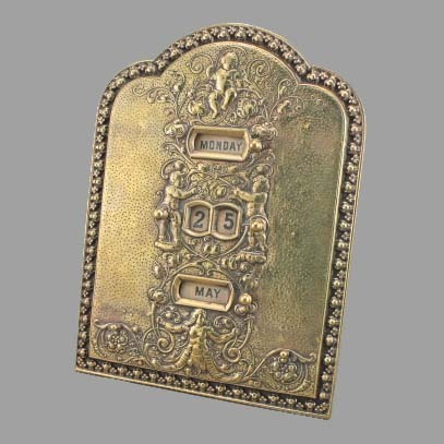 Victorian English Standing Brass Calender