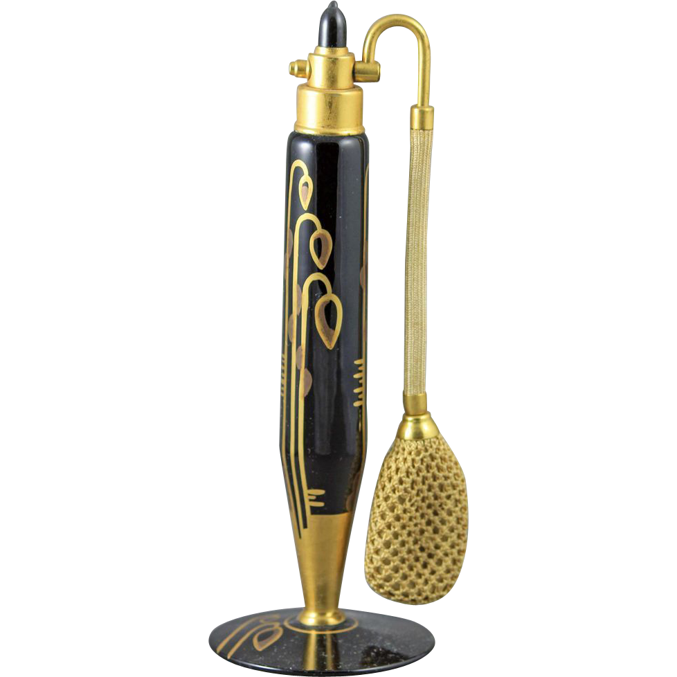 1930 DeVilbiss Art Deco Black & Gold Perfume Atomizer