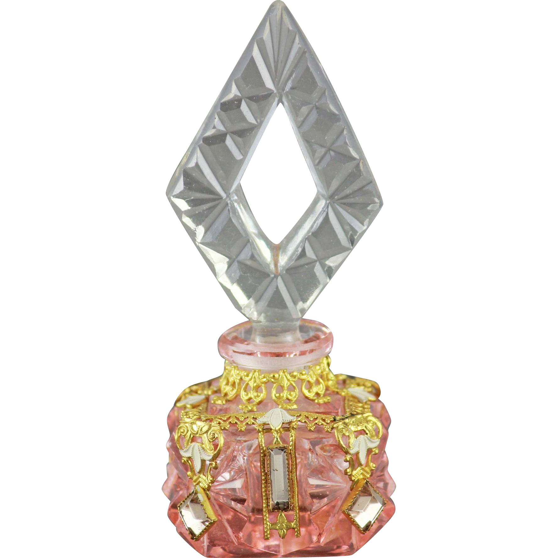 Czech Art Deco Jeweled Mini Perfume Bottle