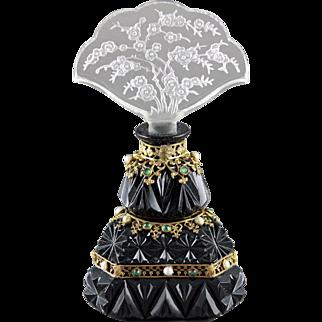 Czech Opaque Art Deco Intaglio Cut Jeweled perfume Bottle