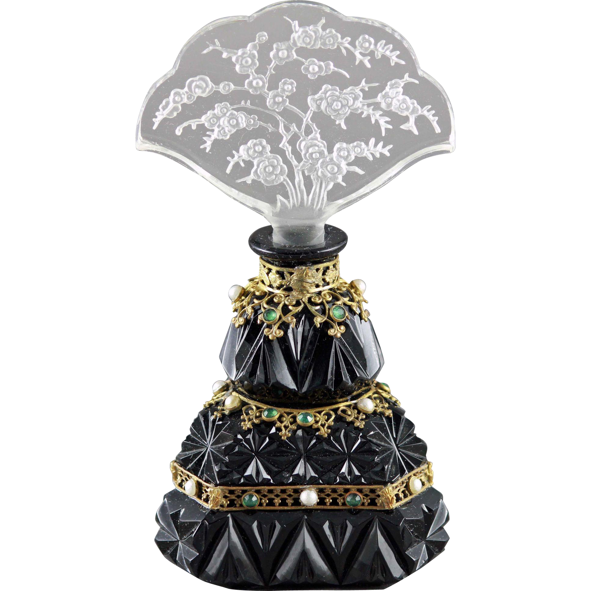 Czech Opaque Art Deco Intaglio Cut Jeweled perfume Bottle