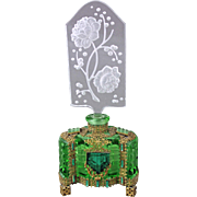 Czech Art Deco Jeweled Intaglio Cut Perfume Bottle