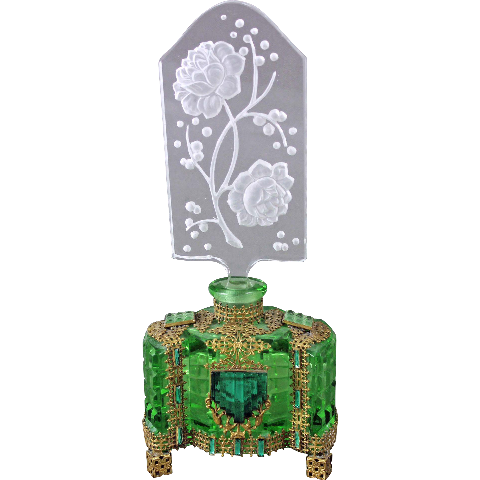 Czech Art Deco Jeweled Intaglio Cut Perfume Bottle