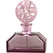 Czech Hoffman Art Deco Purple Figural Molded in Relief Perfume Bottle