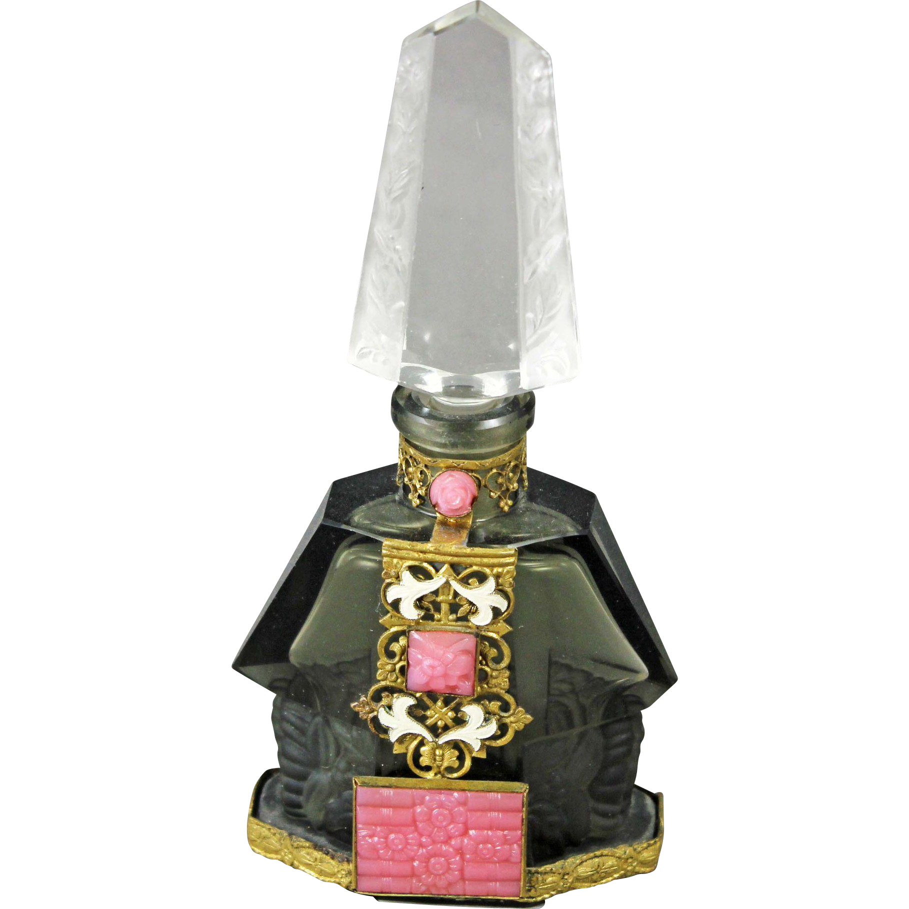 Czech Art Deco Jeweled Perfume Bottle