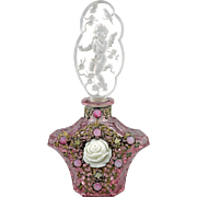 Czech Art Deco Jeweled Pink Perfume Bottle with Intaglio Cut Cherub