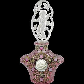 Czech Art Deco Jeweled Pink Perfume Bottle with Intaglio Cut Cherub