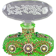 Czech Art Deco Intaglio Cut Jeweled perfume Bottle