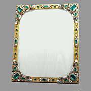 Austrian Jeweled & Enameled Bronze Picture Frame
