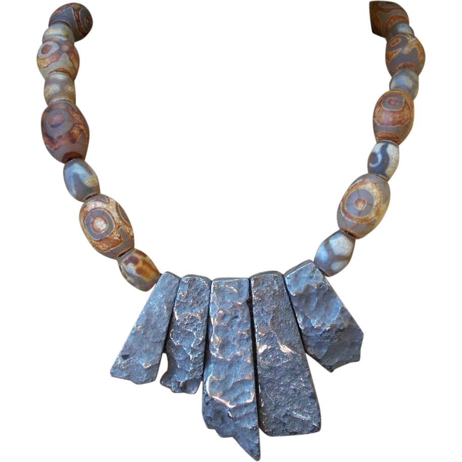 Etched glass beads and pyrite necklace sold on ruby lane for Eurasia jewelry miami fl