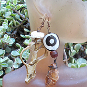 Conch Shell and Kyanite Asymmetrical Earrings