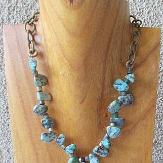 Unpolished Turquoise Nugget Necklace