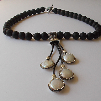 Matte Black Quartz and Mother of Pearl Necklace
