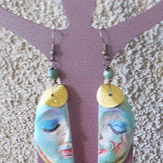 Blue Moon Face Earrings