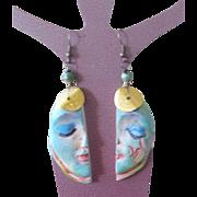 Blue Moon Face Earrings