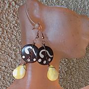 Buttons & Shell OOAK Earrings