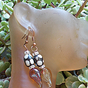 OOAK Handblown Glass Hearts Earrings