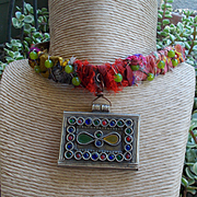 Leather and Sari Silk Tibetan Prayer Box Necklace