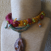 Nepal Relic & Leather and Sari Silk Necklace