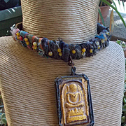 Gold Leaf Nepal Relic Necklace
