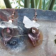 Hand Blown Glass Hearts & Quartz Crystal Earrings