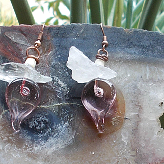 Hand Blown Glass Hearts & Quartz Crystal Earrings