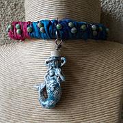 Ceramic Mermaid Leather Necklacer