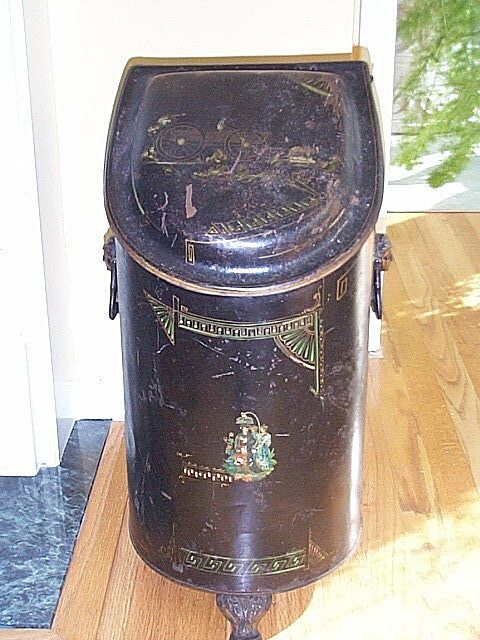 Late 19c. Hand Painted Coal Scuttle with Oriental Motif