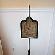 Late 19c. Ebonized Gothic Revival Pole Screen