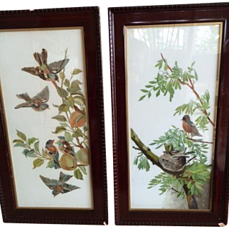 19c. English Pair of Paintings on Porcelain; Birds in Fruit Tree