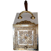 Late 19c. Coal Hod with Slanted Brass Lid