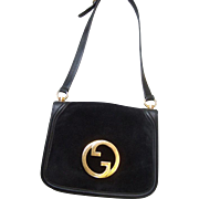 Gucci Black Blondie Shoulder Bag.  1970's