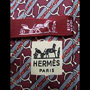 Hermes Silk Equestrian Necktie.  1980's.