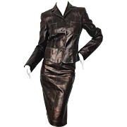 Christian Lacroix Brown Leather Suit.  1990's.