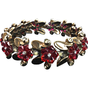 Trifari Fruit Salad Ruby Red Carved Bracelet.  1949.