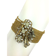 Romantic 1930's Faux Pearl and Chain Bracelet.