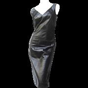 Christian Dior Paris Chic Black Leather Bondage Dress.
